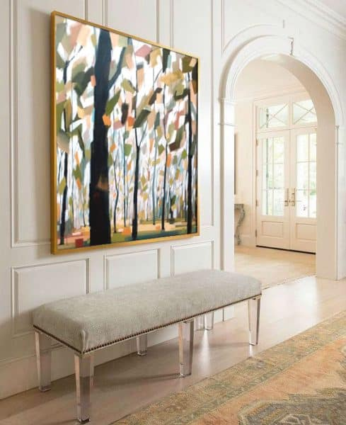 Tree Forest and Mountain Abstract Landscape Paintings |Circling of the Seasons, Mixed media painting by Holly Van Hart | Best of Houzz, Featured in Professional Artist Magazine