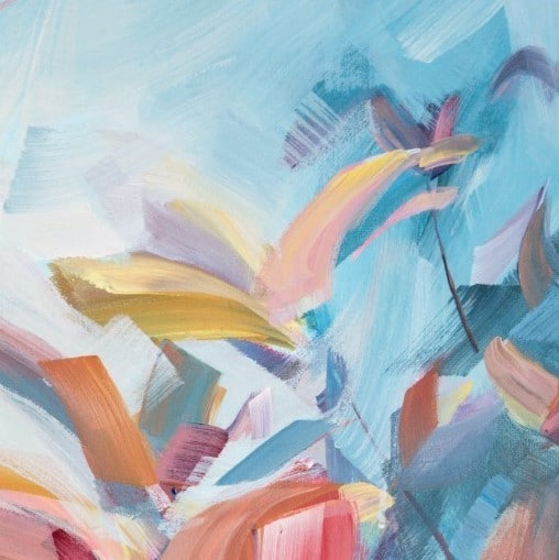 DETAIL 1 - Abstracted flower botanical painting - All the Corners of My Mind - Mixed media painting by Holly Van Hart 36 x 48
