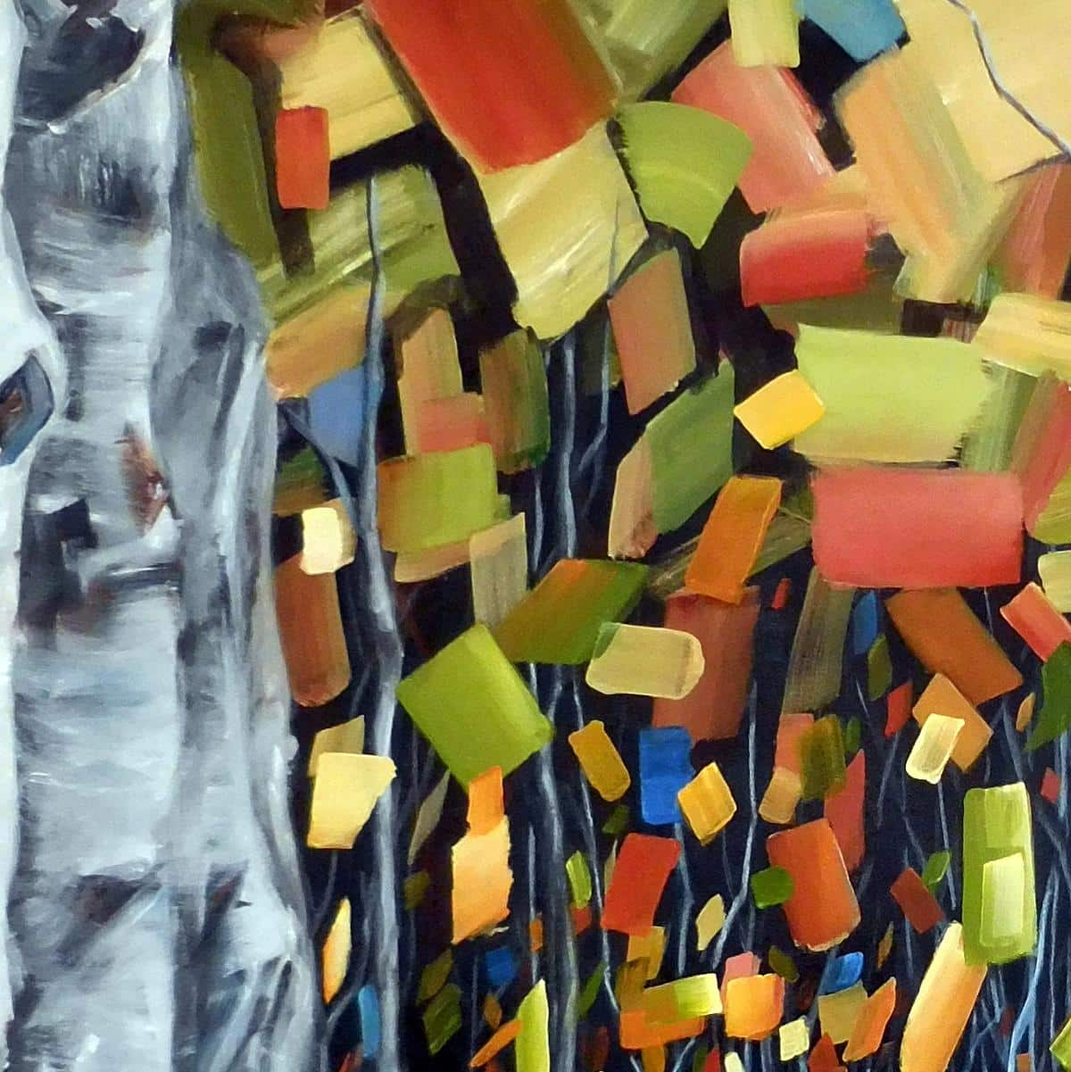 Abstract Birch |Aspen Painting By Holly Van Hart, Detail