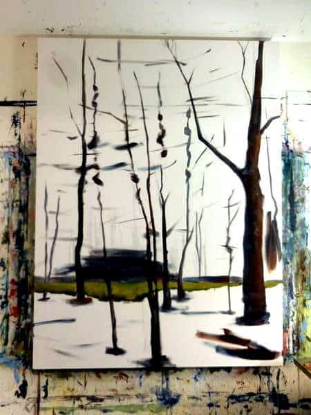Abstract Forest Painting | Holly Van Hart | in progress painting | Forests Trees