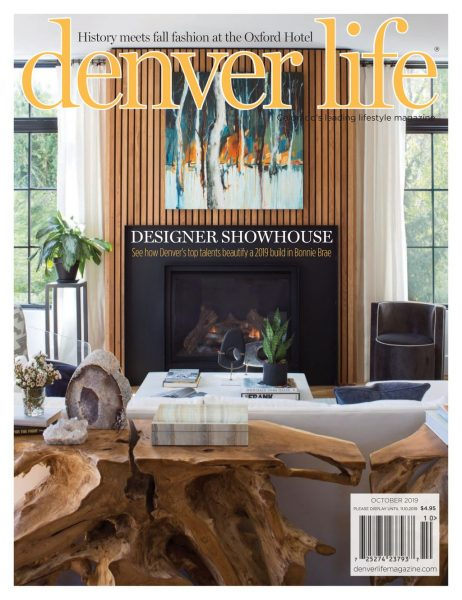 Denver Life October 2019 - painting by Holly Van Hart over fireplace