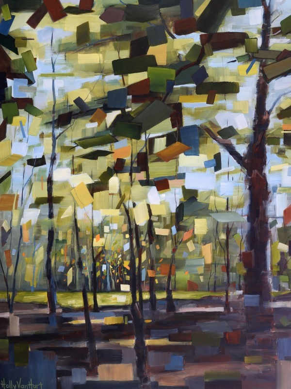Tree Painting Inspired In New York State. Sunlit Green Leaves And Trees With Brown And Blue Trunks. By Holly Van Hart.