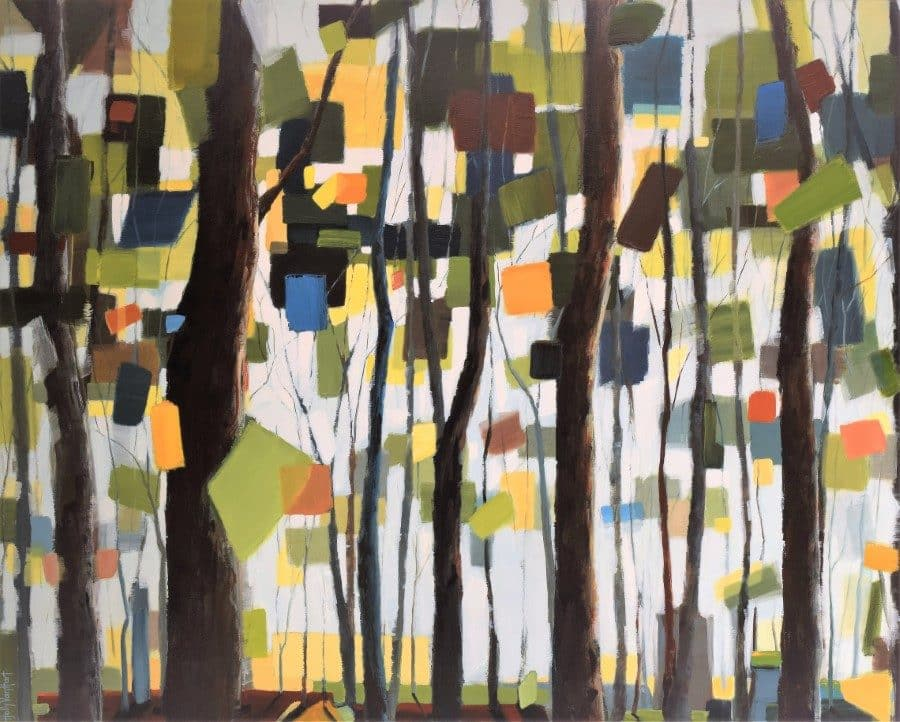 Forest painting, trees with confetti leaves, green, blue, yellow, orange. By Holly Van Hart.