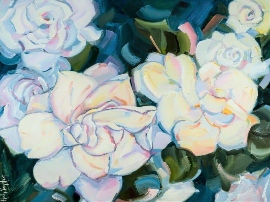 Floral painting inspired by a rose garden in San Jose, California. They also look like gardenias. By Holly Van Hart.
