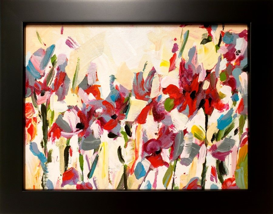 Happiness - abstract botanical mixed media painting by Holly Van Hart - red purple yellow blue floral
