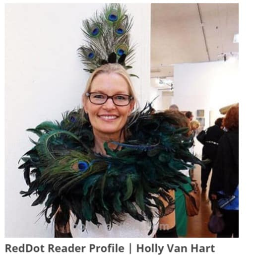 Painter of abstract trees and forests, artist Holly Van Hart, dressed up for Anne & Mark's art party
