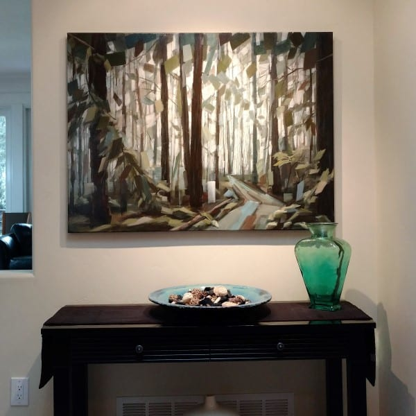 Landscape Forest Path Trees Redwoods | Painting By Holly Van Hart | Blue Green Brown | Best Of Houzz