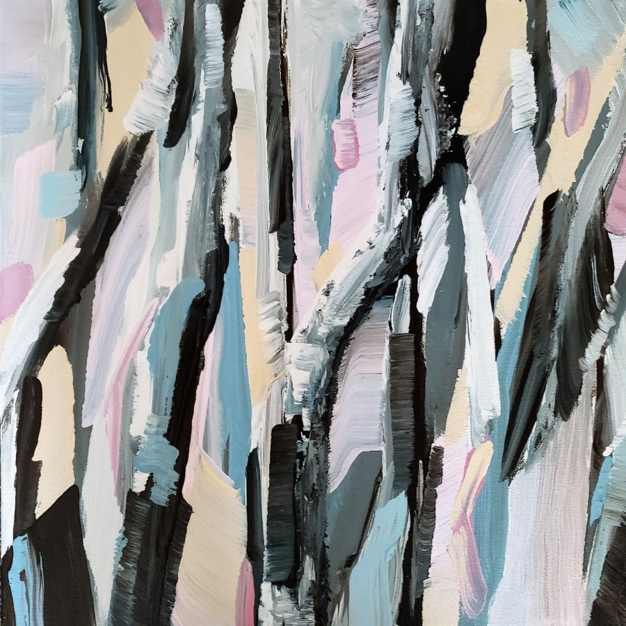 birch aspen painting - blue gray white pink - abstract - by award winning painter Holly Van Hart