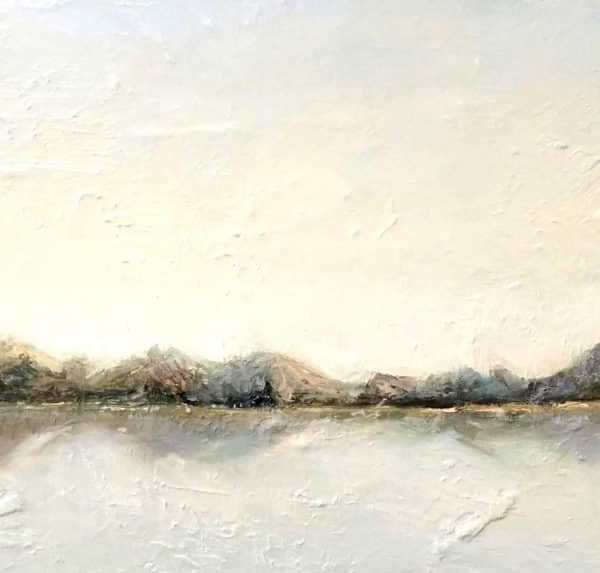 "Abstract Landscape Painting | Sky Mountains Ocean Lake | Mountain Sparkle12 X 36"" Oil Painting By Holly Van Hart"
