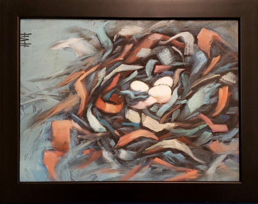 Nestling - abstract nest painting by Holly Van Hart - nest eggs ribbons blue red white pink