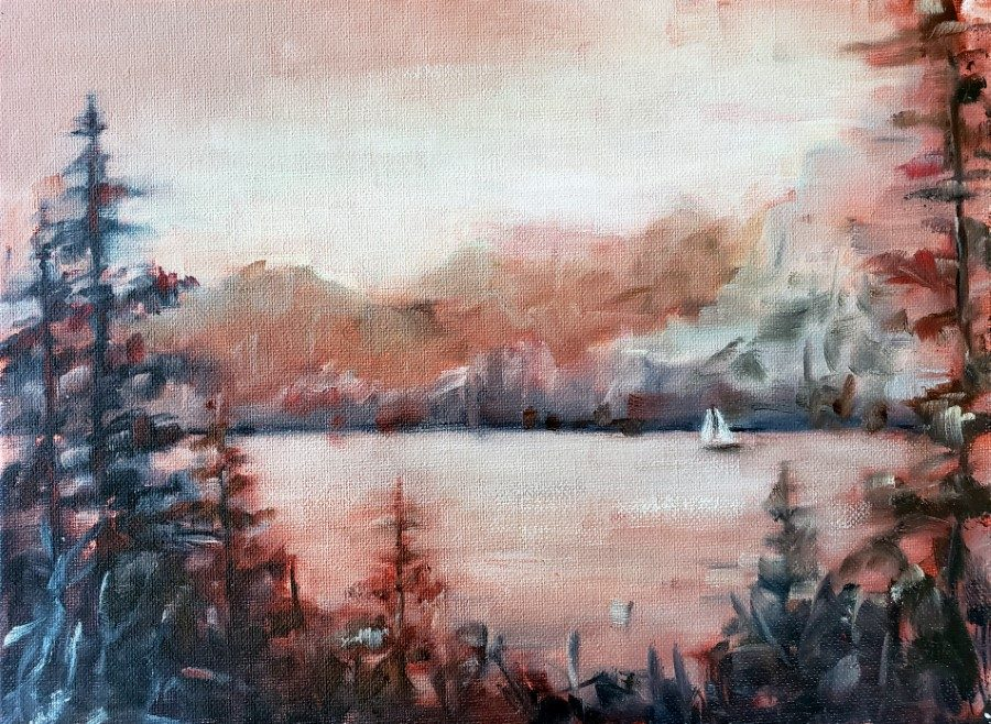 Red Dusk - landscape painting by Holly Van Hart - mountains trees lake sailboat