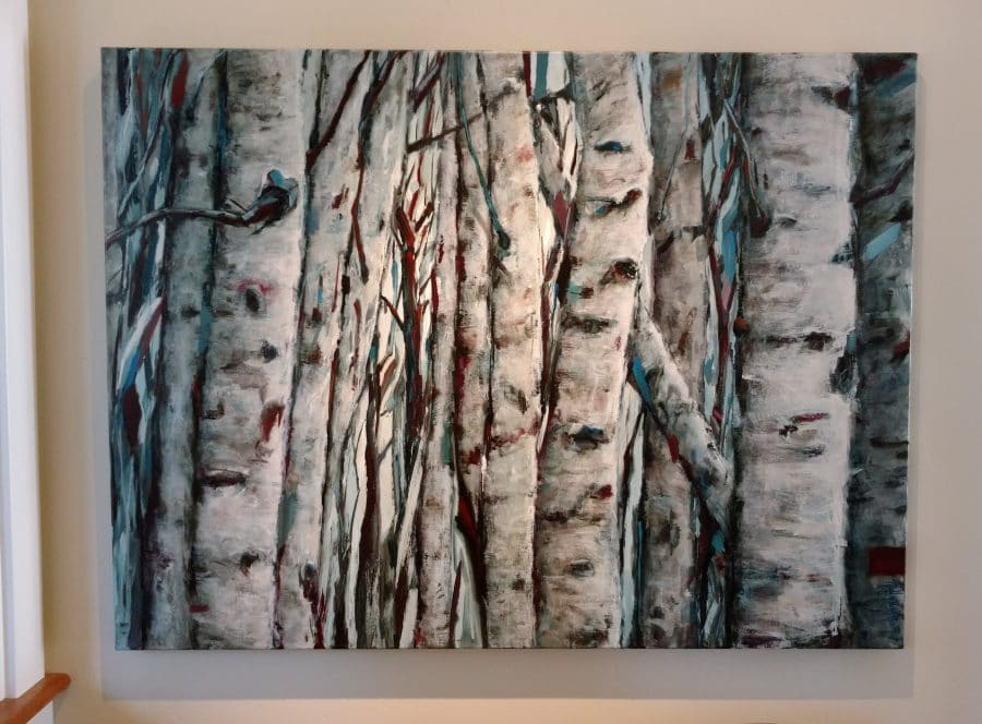 Wall art - Birch aspen colony. Dense tree trunks. Highlights of blue. Acrylic painting by Holly Van Hart.