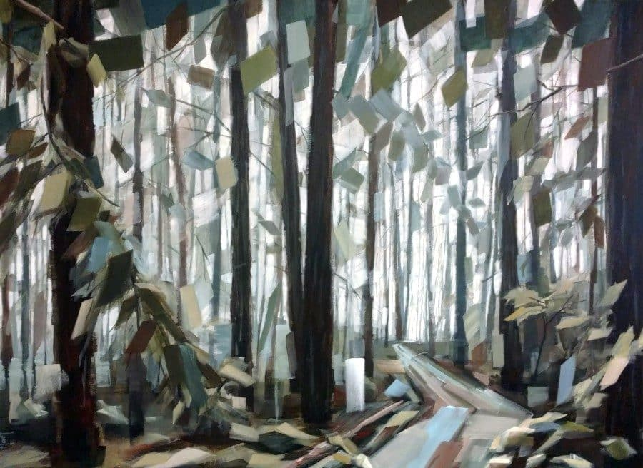 Forest painting inspired by California redwood trees. Muted blue and green leaves and path. Artist Holly Van Hart.