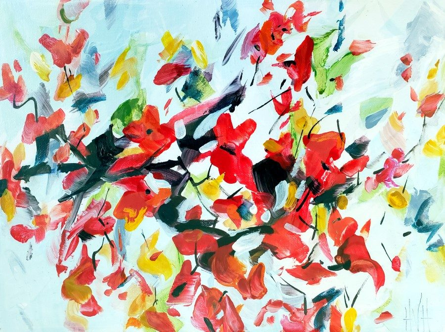 This Dance - abstract botanical mixed media painting by Holly Van Hart - red flowers green blue white botanical