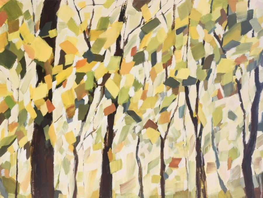 """Abstract landscape painting, trees with yellow, green and brown leaves against a white sky 