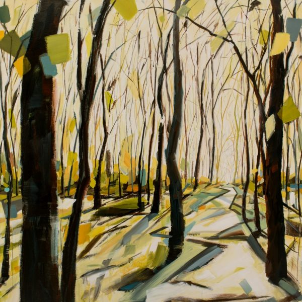 "Forest Painting With Brown Trees, Yellow, Blue, And Green Leaves, A White Sky, And An Inviting Path | Running Free 48 X 48 "" Mixed Media Painting By Holly Van Hart"