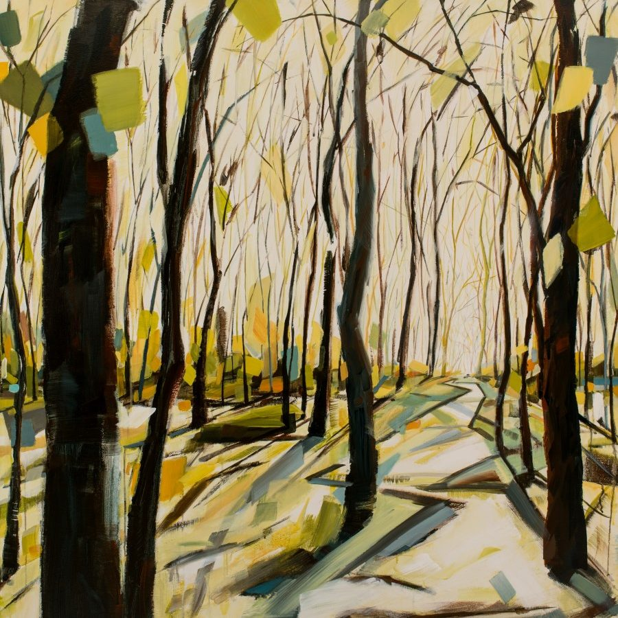 """Forest painting with brown trees, yellow, blue, and green leaves, a white sky, and an inviting path 