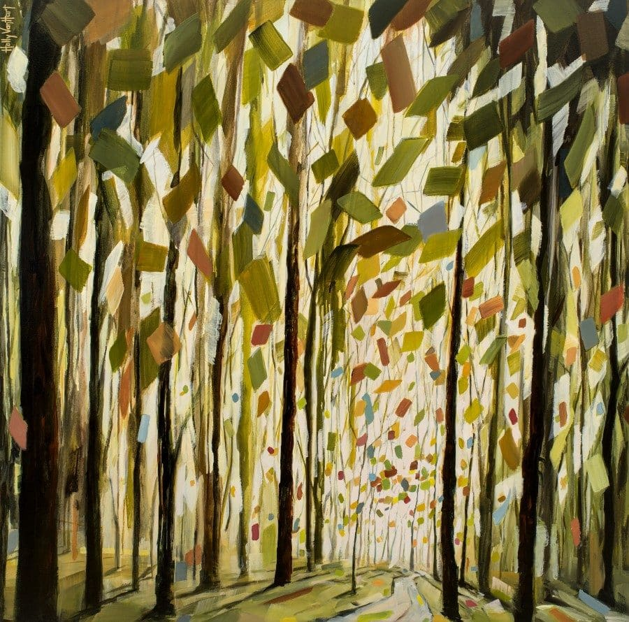 Forest painting with tall trees and inviting path. Green, yellow, red confetti-like leaves. artwork by Holly Van Hart