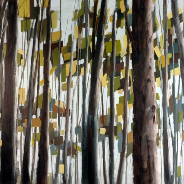 Tree Artwork Inspired By Springtime. Light Green And Yellow Leaves Seen Through Brown And Blue Trunks. Art By Holly Van Hart.