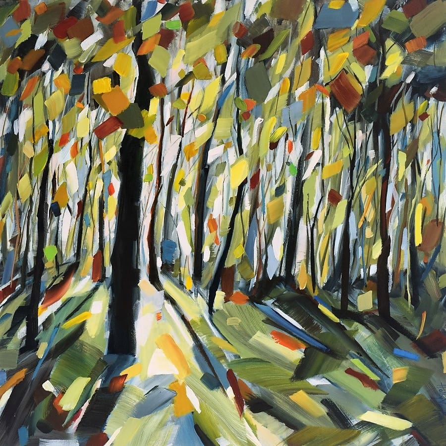 forest painting with green, blue, orange and yellow leaves and bright sunlight through the leaves | By Holly Van Hart | canvas art for sale
