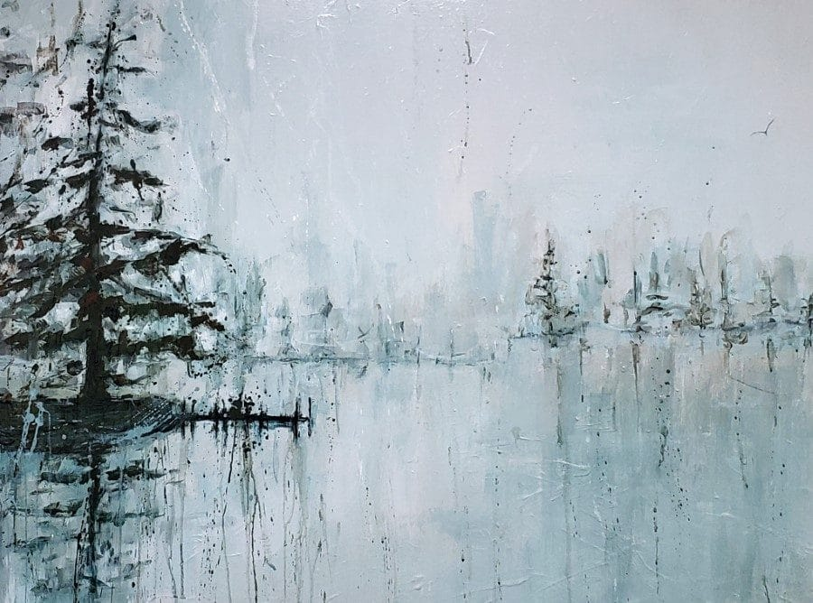 abstract landscape painting - fog trees bird - blue gray brown - by Holly Van Hart