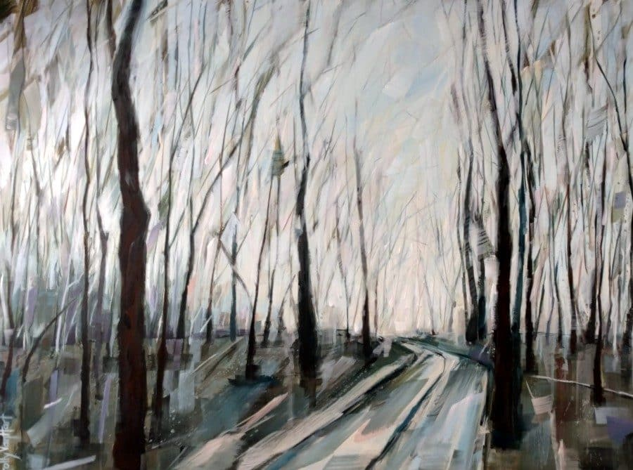 Winter tree painting. Blue pink and yellow sky. Inviting path into the forest. Acrylic and charcoal painting by Holly Van Hart.