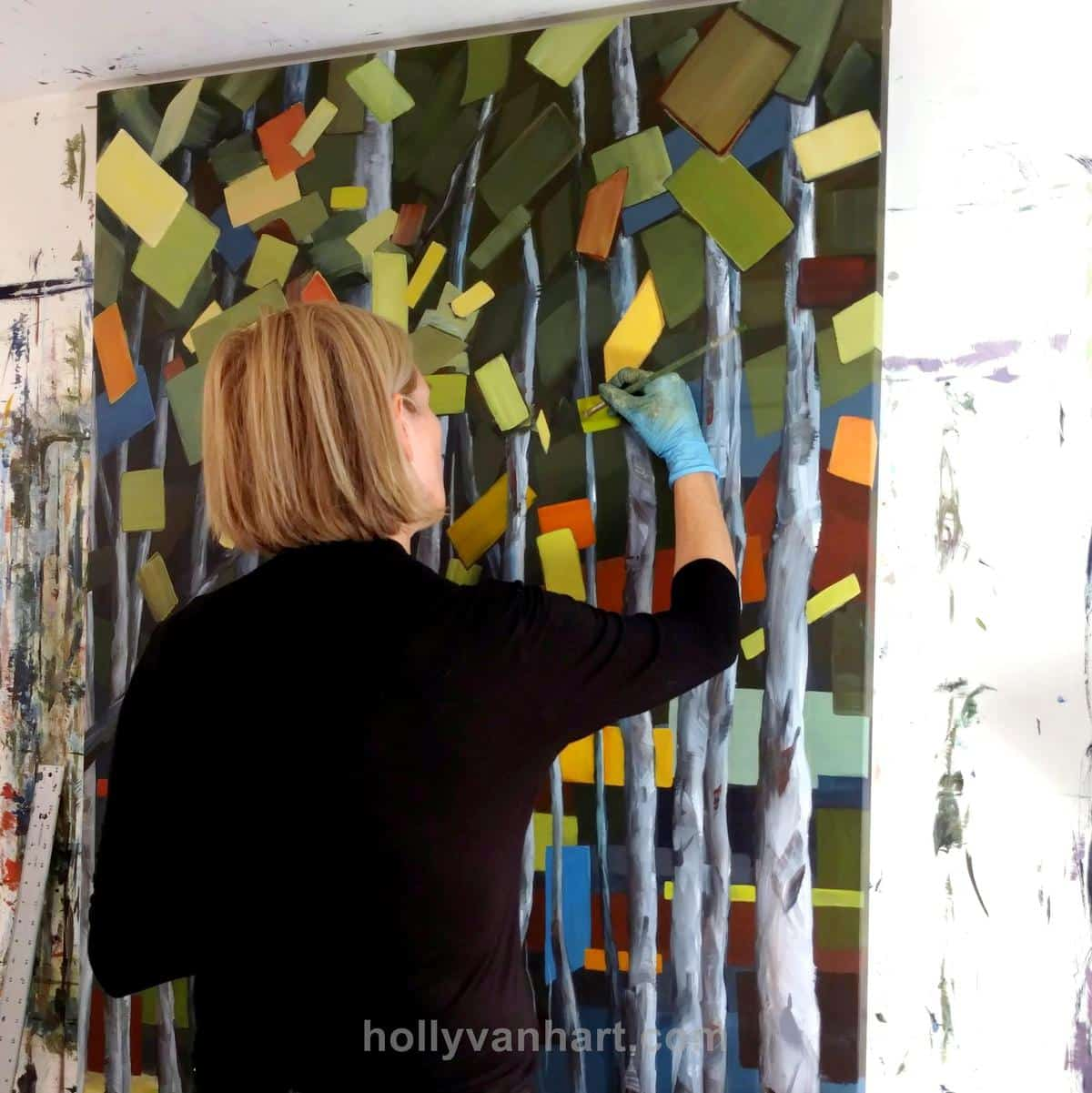 Holly Van Hart | Abstract Nature Painting | Studio | Forests Trees Birch Aspen