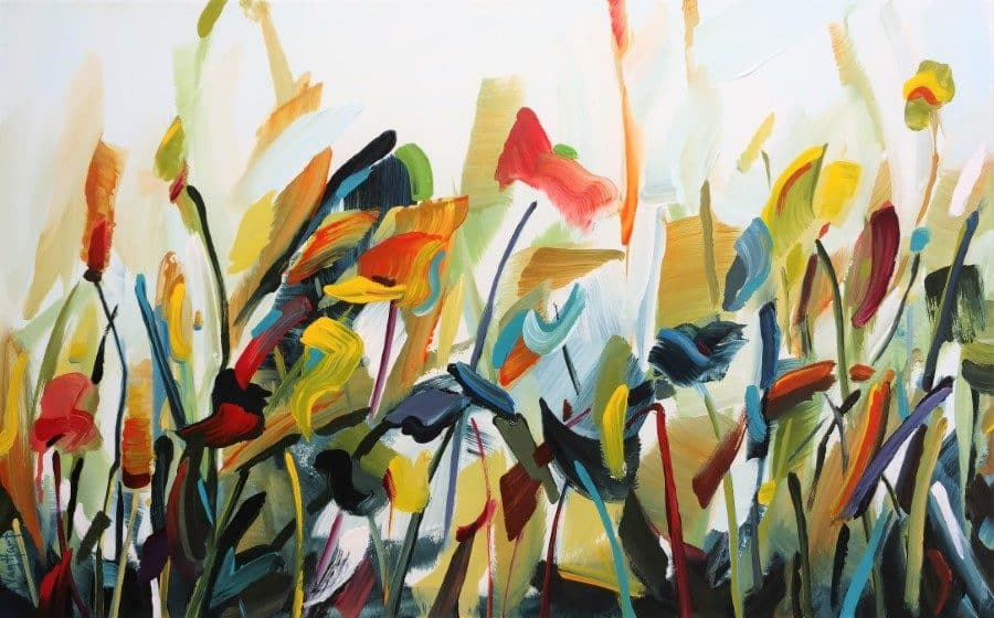 abstract flower painting by Holly Van Hart - blue yellow orange red - flowers sky stems