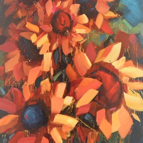 Floral Sunflower Painting Yellow Orange, Red Against Blue And Green Background | Mixed Media Painting By Holly Van Hart | Abstract