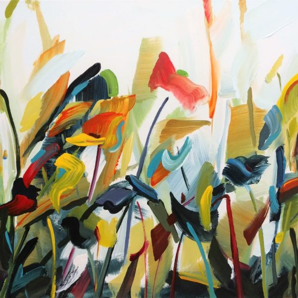 Abstract Flower Painting Red Orange White Blue Yellow - By Acclaimed California Painter Holly Van Hart