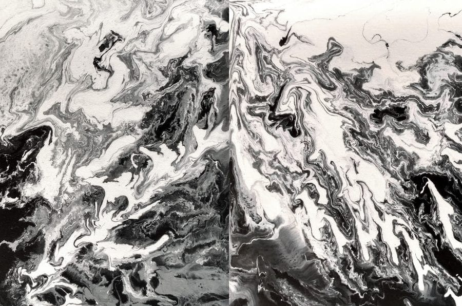 flow painting | black white | mountains sky clouds | mixed media painting by Holly Van Hart