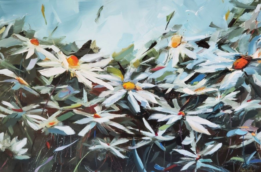 abstract floral painting features daisies | white orange red flowers | blue sky | by California artist Holly Van Hart