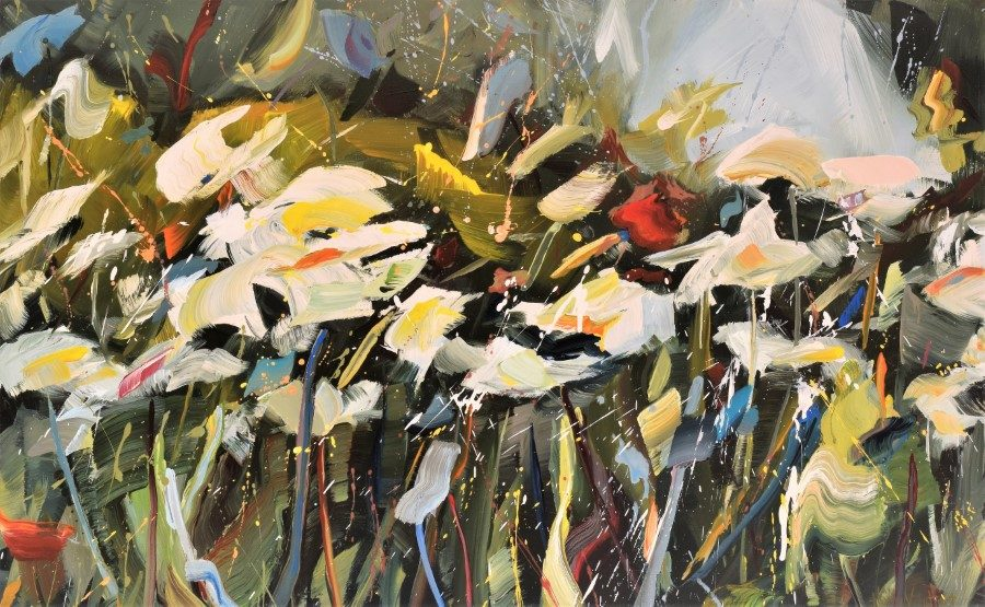 flower field abstract impressionism white flowers green - painting by Holly Van Hart
