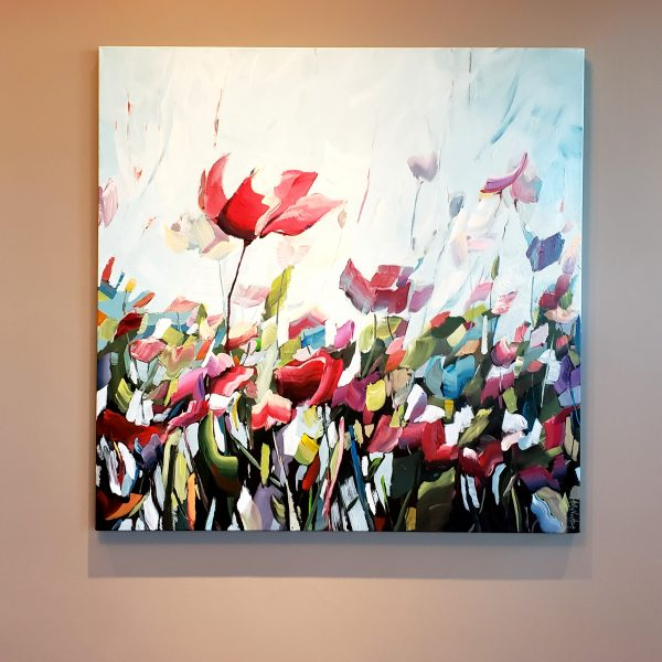 Botanical Painting - Flowers Poppies - Red Green Blue Sky - Abstract Nature Painting By Holly Van Hart