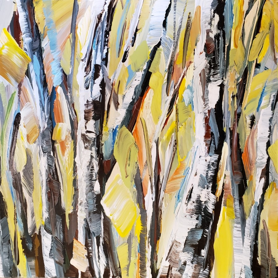 painting abstract forest - mixed media wall art by award winning artist Holly Van Hart - yellow blue brown green white gray