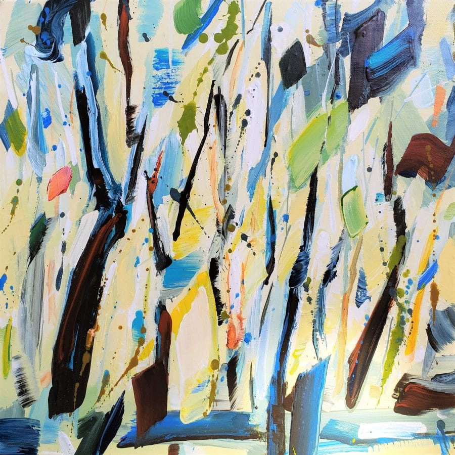 painting abstract forest - mixed media wall art by California artist Holly Van Hart - yellow blue brown green