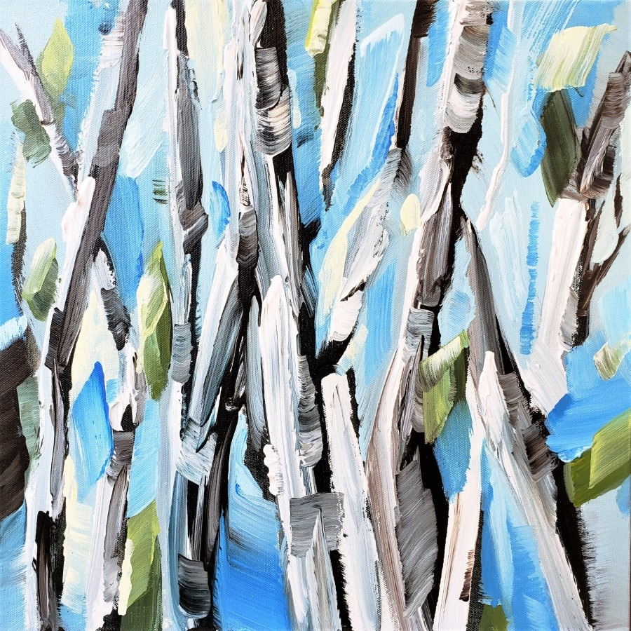 painting abstract birch aspen trees - mixed media wall art by award winning American artist Holly Van Hart - blue gray white green