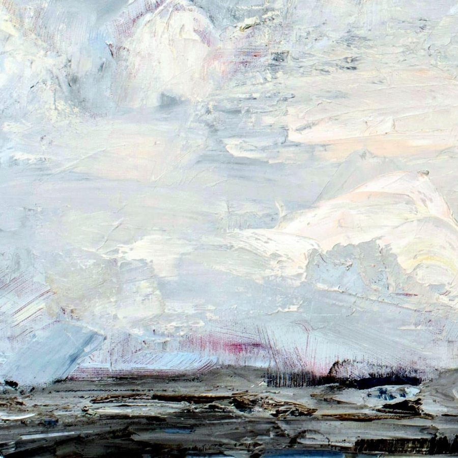 "Following Your Fascinations30 x 40"" oil painting by Holly Van Hart (detail, middle left)Here you can see the red underpainting peeking through near the horizon"