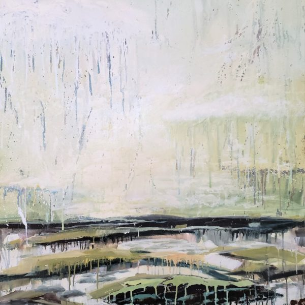 Abstract Landscape Painting | Sky Water Clouds Land Islands | Green Blue Brown White | Mixed Media Painting By Holly Van Hart