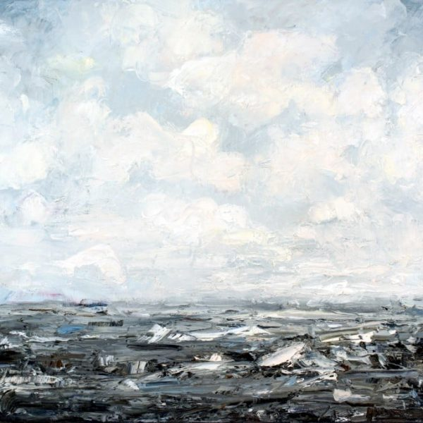 Abstract Landscape Painting - Art On Canvas For Sale - Ocean Sky Clouds Waves - Blue White Gray - Following Your Fascinations - Oil Painting By Holly Van Hart