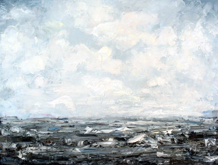 Abstract landscape painting - art on canvas for sale - ocean sky clouds waves - blue white gray - Following Your Fascinations - oil painting by Holly Van Har