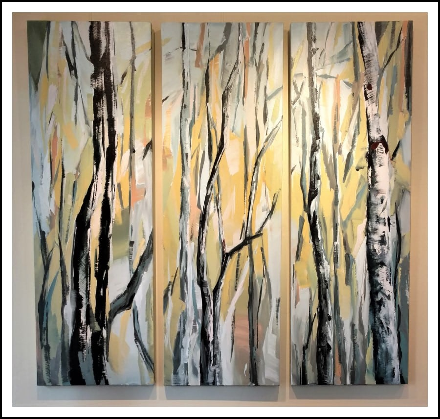 Installed Painting - Birch Aspen Mixed Media Painting | Blue Yellow Orange Brown White | By California Artist Holly Van Hart