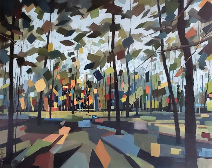 Tree Art. Forest With Afternoon Light. Leaves Are Blue, Green, Yellow, Red. Painting By Holly Van Hart.