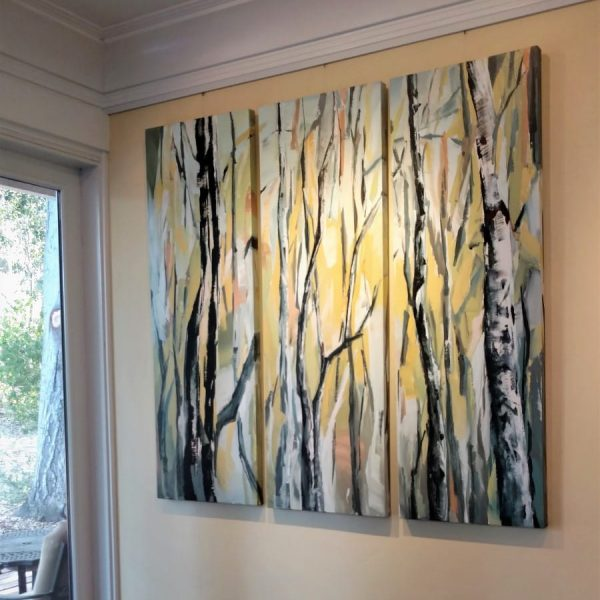 Installed Painting - Birch Aspen Tree Forest Mixed Media Painting | Blue Yellow Orange Brown White | By California Artist Holly Van Hart
