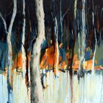 landscape forest trees | blue white orange red brown | painting by Holly Van Hart | As featured in the Huffington Post and Professional Artist Magazine