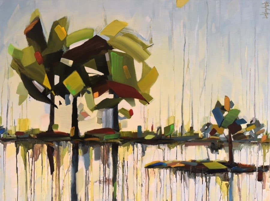 Landscape painting featuring trees water reflections | green red blue leaves | yellow sky | artist Holly Van Hart |acrylic and mixed media featuring flowing colors