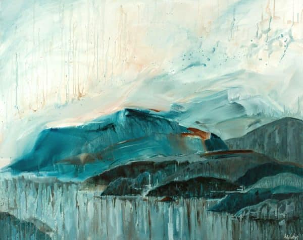 Mountains, sea, sky in blue, orange and gray, mixed media painting by Holly Van Hart | abstract flow technique