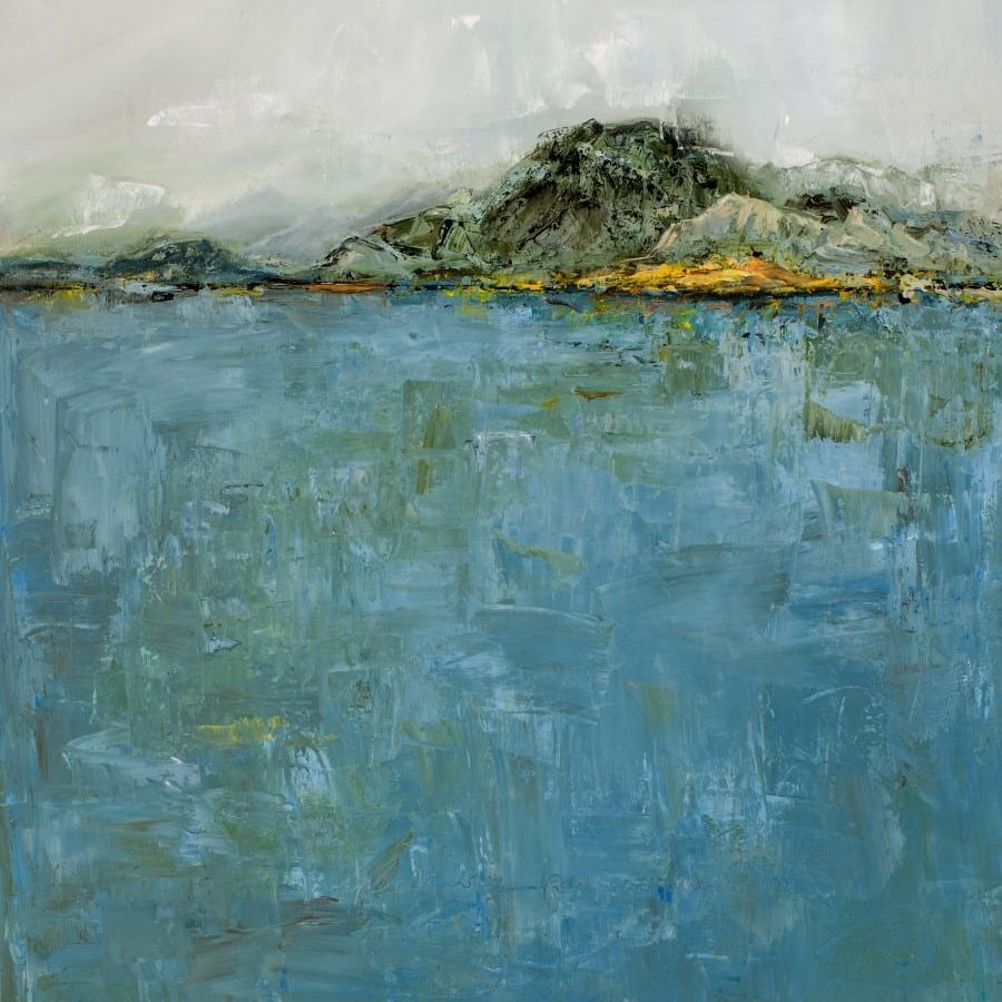 Abstract landscape painting featuring foggy sky, rugged mountains, and blue-green sea. oil painting by Holly Van Hart.
