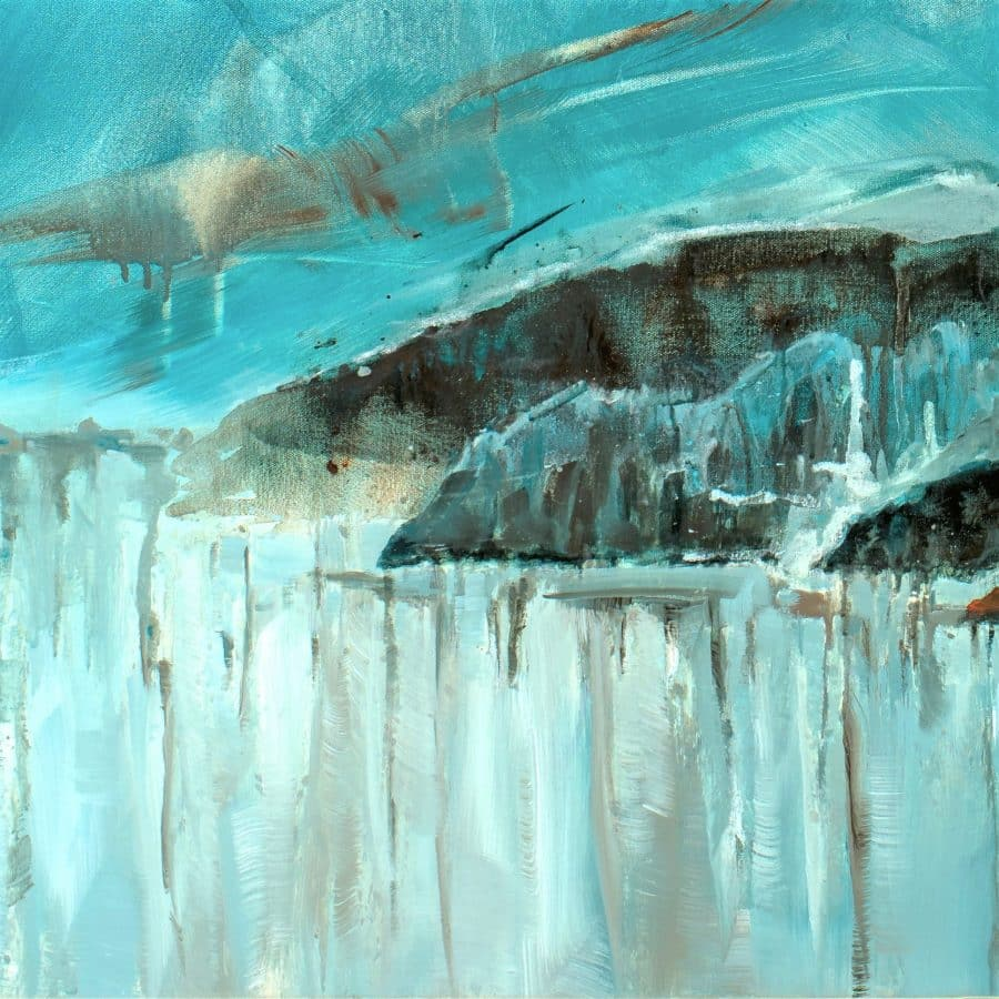 abstract landscape painting - Magnetic Dreams 48 x 60 mixed media painting by Holly Van Hart (detail)