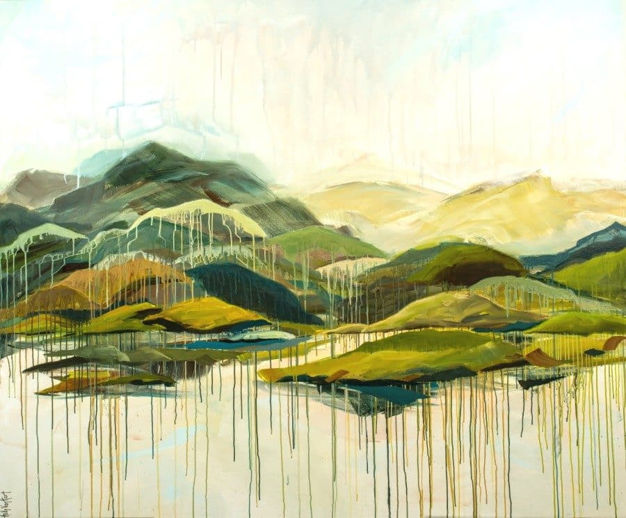 Abstract landscape | Mountains, sea, sky in green, yellow, blue mixed media painting for sale by Holly Van Hart | watercolor techniques with acrylic paints on canvas